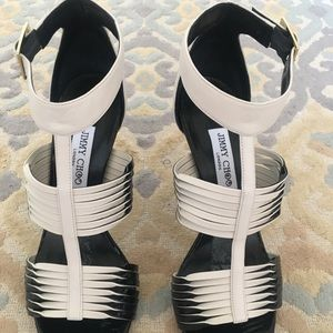 Jimmy Choo Lava off white black ankle strap shoes